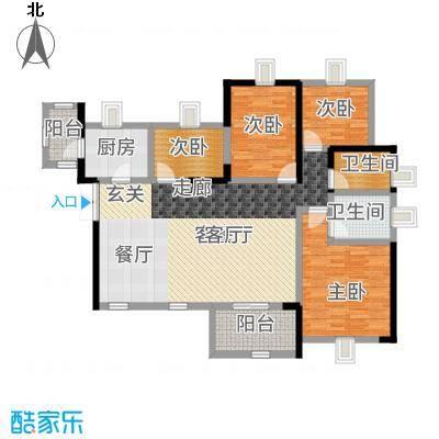 幸福城122.00㎡2栋2单元07+08--户型4室2厅