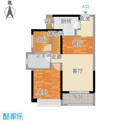 坪山招商花园城76.40㎡户型2室2厅