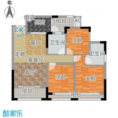 首信皇冠假日98.75㎡一期洋房9/10号楼标准层A3-8-7户型3室1厅