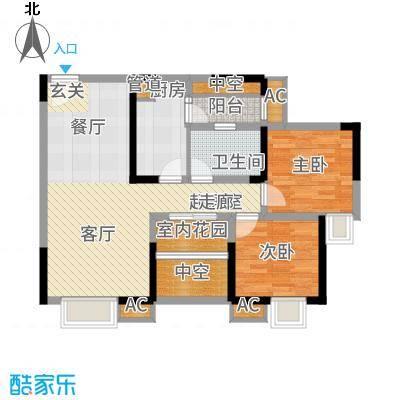 北城阳光尚线一期3号楼高层7号房户型2室2厅