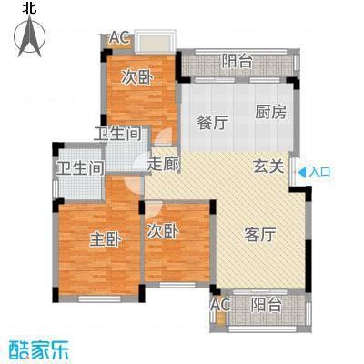 奥园水云间119.05㎡水岸风情纯洋房社区B5-6双卫户型3室2厅