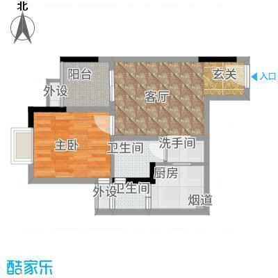 欣光松宿46.93㎡1期A栋标准层3号房户型1室1厅
