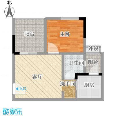 欣光松宿52.77㎡1期B栋标准层2号房户型1室1厅