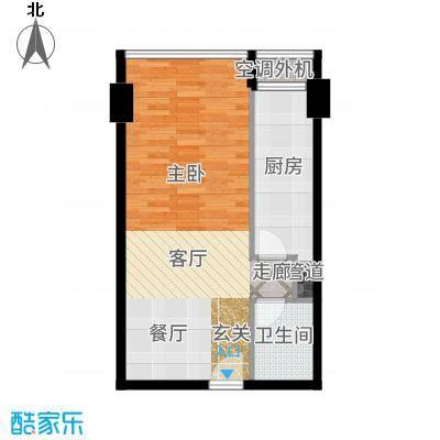 巴登巴登国际温泉养生公寓一期单体楼标准层4-8/12-16号房户型1室1厅