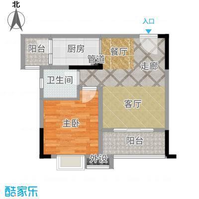 欣光松宿55.57㎡1期B栋标准层6号房户型1室2厅