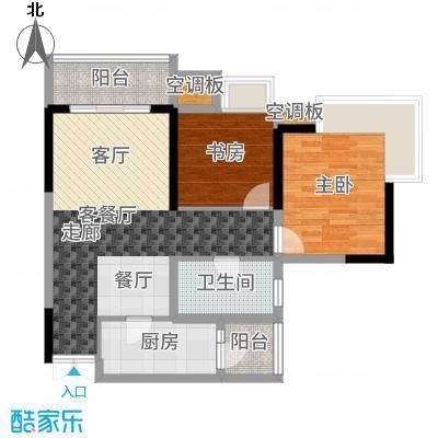 渝兴嘉悦山水一期3号楼标准层A2户型2室2厅