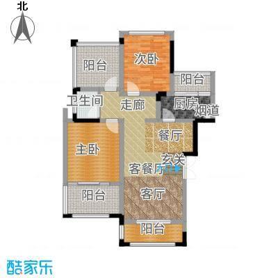 首信皇冠假日80.96㎡一期洋房9/10号楼标准层A2-8-3户型3室1厅