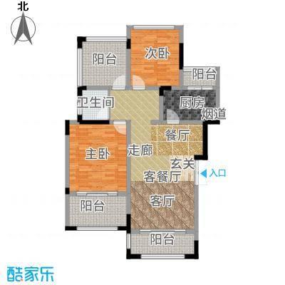 首信皇冠假日85.12㎡一期洋房9/10号楼标准层A2-8-1户型2室2厅