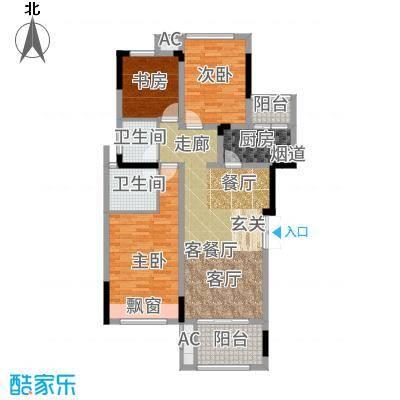 首信皇冠假日99.29㎡一期洋房9/10号楼标准层A2-6-3户型3室1厅