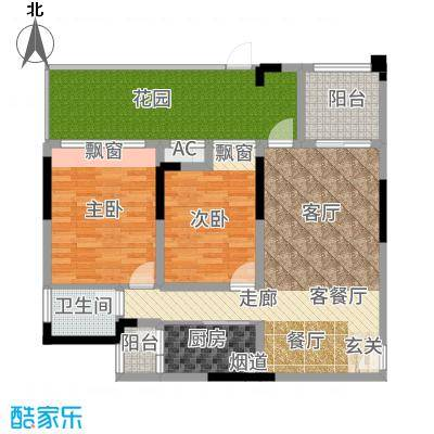 首信皇冠假日83.07㎡一期洋房9/10号楼标准层A1-1-4户型2室2厅