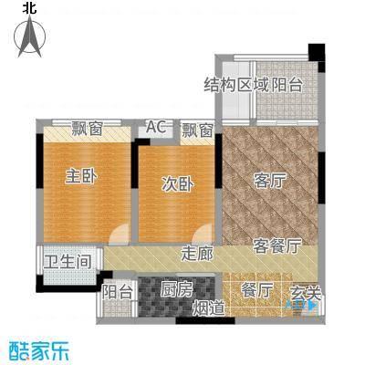 首信皇冠假日80.22㎡一期洋房9/10号楼标准层A1-2-4户型2室2厅