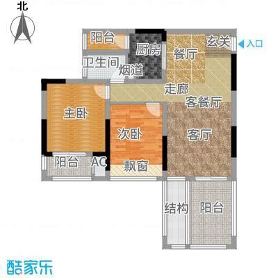 首信皇冠假日88.55㎡一期洋房9/10号楼标准层A1-2-3户型2室2厅