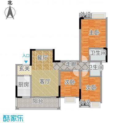 香草山二期10号楼标准层E-1户型3室2厅