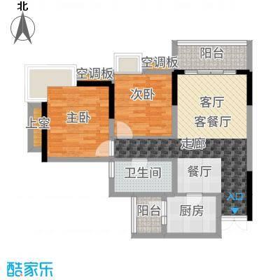 渝兴嘉悦山水一期3号楼标准层A1户型2室2厅