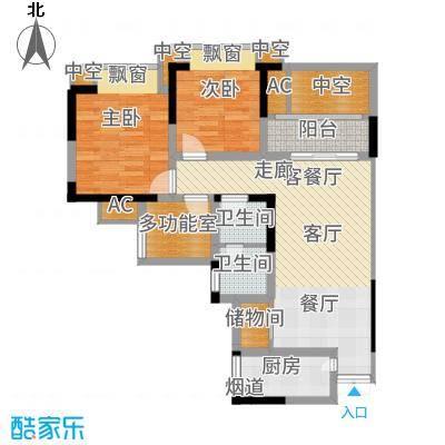 凤凰湾驭城77.46㎡347号楼C-3户型2室2厅