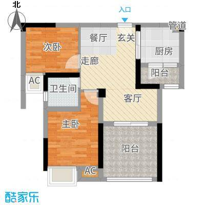 香河国际68.00㎡一期高层B户型2室2厅