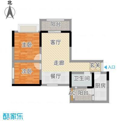 和顺园86.36㎡1号楼6号房户型2室2厅