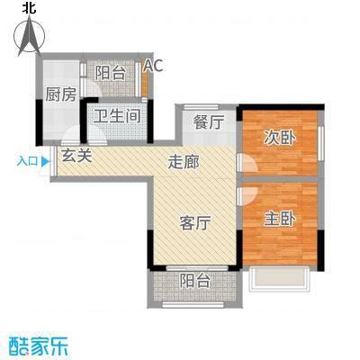 和顺园87.74㎡1号楼2号房户型2室2厅