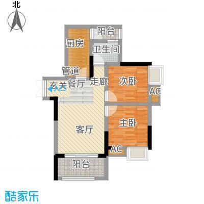 和顺园75.08㎡2号楼5号房户型2室2厅