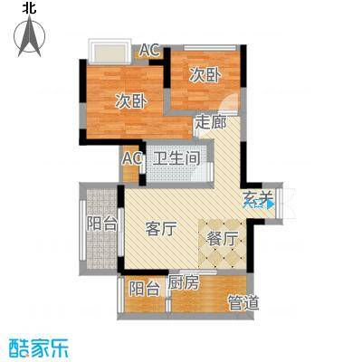 和顺园78.87㎡2号楼2号房户型2室2厅