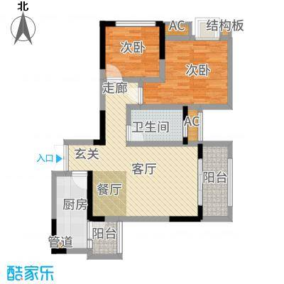 和顺园85.46㎡2号楼4号房户型2室2厅
