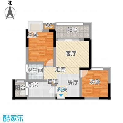 和顺园66.12㎡3号楼6号房户型2室2厅