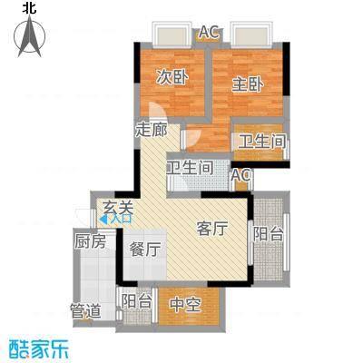 和顺园88.68㎡3号楼1号房户型2室2厅