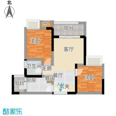 和顺园68.57㎡2号楼3号房户型2室2厅
