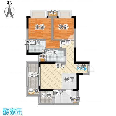 和顺园83.00㎡3号楼5号房户型2室2厅