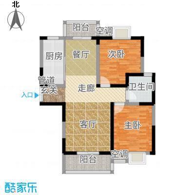 广厦水岸东方89.51㎡户型2室2厅