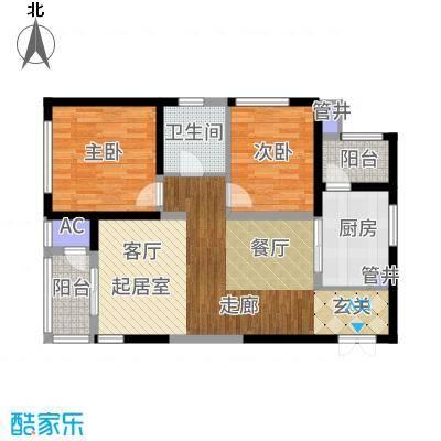 白桦林间95.26㎡B1-1西户户型2室2厅