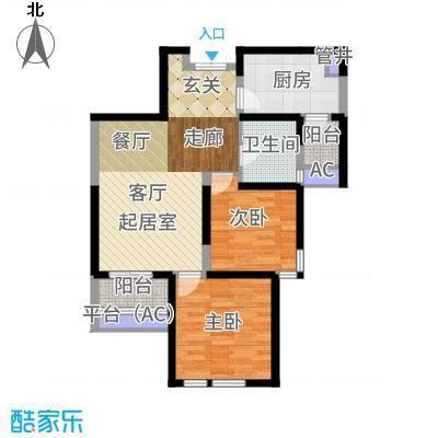 白桦林间91.50㎡B1-4西户户型2室2厅