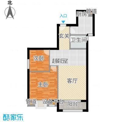 汉城壹号88.00㎡5E户型2室2厅