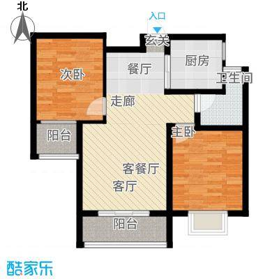 曲江国风世家85.93㎡B2户型2室2厅
