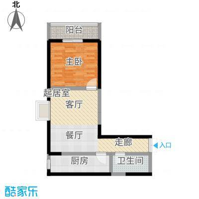 汉庭香榭70.03㎡1-E户型1室2厅