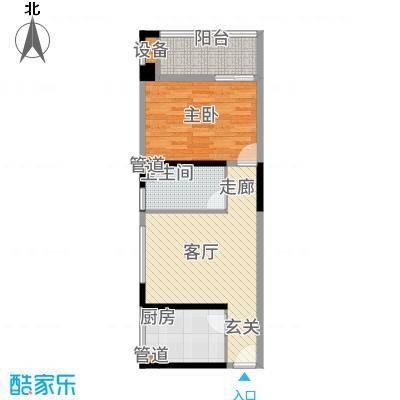 晶鑫华庭64.83㎡C户型1室1厅