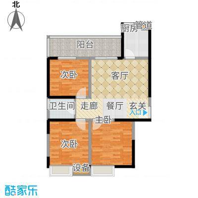 晶鑫华庭95.76㎡F户型3室2厅