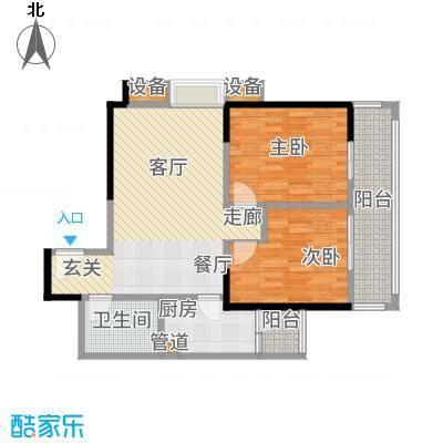 晶鑫华庭88.79㎡D户型2室2厅