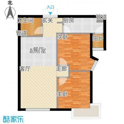富力津门湖88.71㎡鸣泉9号楼1单元01、032单元02、03户两室户型2室2厅