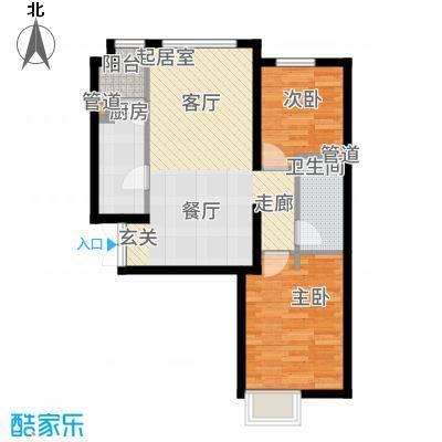 富力津门湖89.52㎡4#江湾一单元03&二单元01两室户型2室2厅