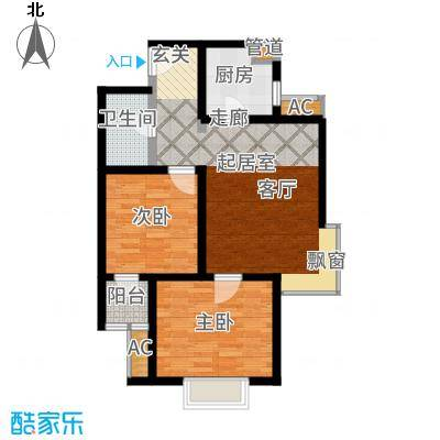 沽上江南90.61㎡19号楼标准层3-C户型2室2厅