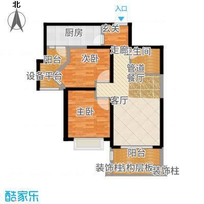 天津碧桂园90.00㎡高层B户型2室2厅