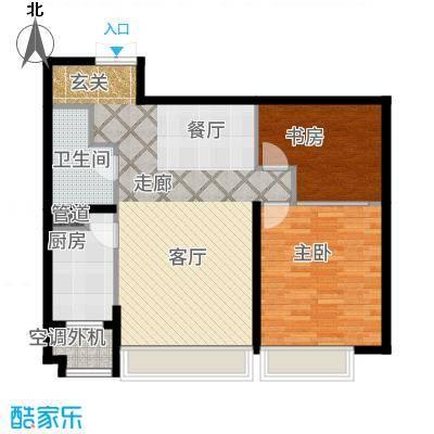 天津大都会103.00㎡高层标准层户型2室2厅