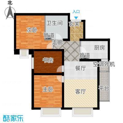 天津大都会120.00㎡高层标准层B户型3室1厅