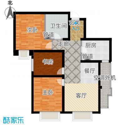 天津大都会121.00㎡高层标准层C户型3室2厅