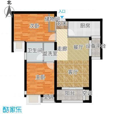 保利玫瑰湾90.00㎡标准层A1户型2室2厅