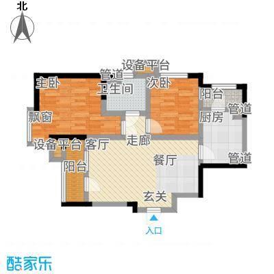 欧铂城86.70㎡高层13号楼标准层01户型2室2厅