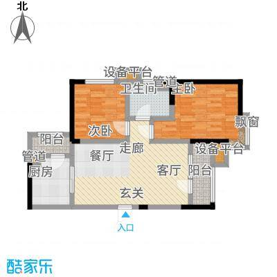 欧铂城87.70㎡高层13号楼标准层06户型2室2厅