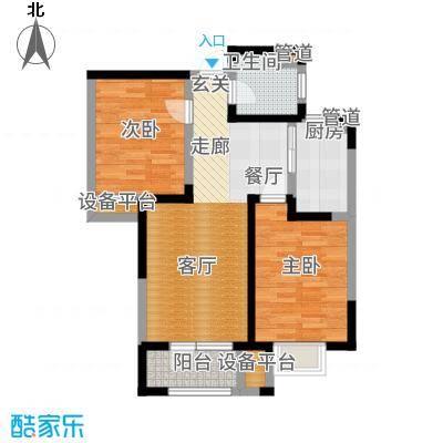 欧铂城90.80㎡高层15号楼标准层03户型2室2厅