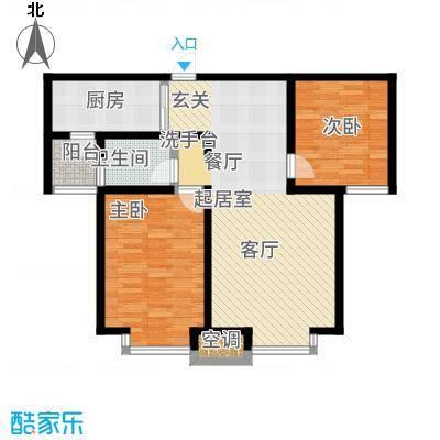 武清五一阳光85.00㎡二期高层标准层B6户型2室2厅